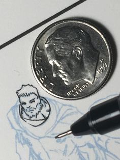 #inking small. About a quarter size of a #dime... maybe less. #makingcomics #thor #marvel #ink #inks #inker #waldenwong #pencils @carlobarberi #avengers #microns #speedball