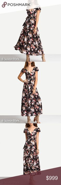 "HP  Floral Print Maxi Wrap Dress Wardrobe Goals Party 04/19/17 by: @shoplunagrace  BRAND NEW  Floral print short sleeves maxi wrap dress with crisscross back. Material is Polyester & Chiffon. Limited quantity. GET YOURS NOW!  Please double check size chart before purchasing  Size Chart are approximate measurements,  please allow a few inches difference.  Please ask questions before purchasing. Offers thru the ""Offer"" button. NO Trades Davin+Theia Dresses Maxi"