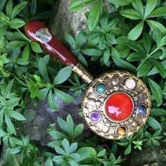 Lovely golden pocket mirror studded with gemstones, makeup and compacts, hand mirror, carnelian and jade mirror,  compact mirror, gemstones by TwoSwansSwimming on Etsy