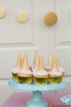 unicorn cupcakes | Pink gold and aqua unicorn party.