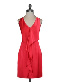 Red Cascading Ruffle Dress