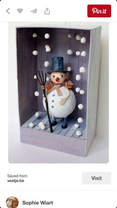 Little Treasures: 8 Fabulous Ideas for Christmas Dioramas – Handwerk und Basteln Diy And Crafts, Crafts For Kids, Arts And Crafts, Paper Crafts, Diy Snowman Decorations, Snowman Crafts, Snowman Party, Winter Art, Christmas Art