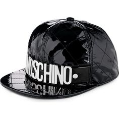 MOSCHINO Quilted logo baseball cap ($595) ❤ liked on Polyvore featuring accessories, hats, cap, moschino, black, logo baseball caps, black baseball cap, baseball cap, baseball hats and black hat