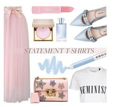 """Slogan T-Shirt: Be Feminist!"" by keepfashion92 ❤ liked on Polyvore featuring Chicwish, Tee and Cake, Miu Miu, Gucci, Forever 21, Stila, Marc Jacobs and Orlane"