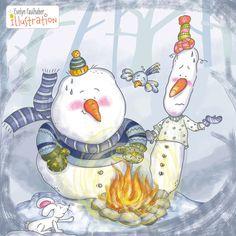 Ich glaube den Schneemännern wird es doch zu heiß... Art And Illustration, Snoopy, Princess Zelda, Winter, Fictional Characters, Illustration Children, Snowman, Faith, Winter Time