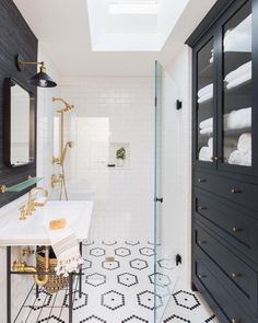 Timeless black & white graphic bathroom -  via One King Lane