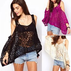 Yihao 2015 New Spring&Summer Woman Floral Lace Batwing Sleeve Loose Crochet Blouse Top