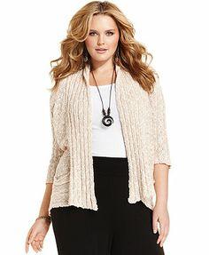 American Rag Plus Size Three-Quarter-Sleeve Marled Cardigan