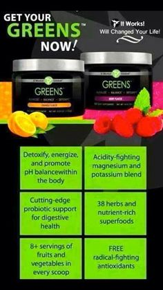 I use Greens daily to help energize, detoxify and consume my 8 servings of fruits and veggies per serving!! I have lost 6 pounds in 5 weeks with using this product alone! Affordable and extremely healthy!! Call 218-393-7607 to order!