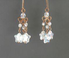 Christmas star earrings chandelier earrings by VeraNasfaJewelry Copper Earrings, Star Earrings, Copper Jewelry, Dangle Earrings, Diamond Earrings, Jewlery, Faceted Glass, Glass Beads, Pretty Star