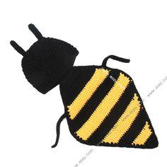 Baby Velvet Crochet Beanie Photography Honey Bee Hat Set