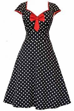 Lady Vintage Black Polka Dot Isabella Dress