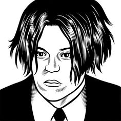 Jack White by Charles Burns from the Believer Cover Series at adambaumgoldgallery.com