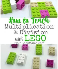 Looking for a fun and hands on way to teach multiplication and division? How about LEGO! There are so many easy ideas here for LEGO multiplication and division to help your kids succeed. Multiplication Activities, Multiplication And Division, Math Activities, Teaching Tips, Teaching Math, Kindergarten Math, Teaching Division, How To Teach Division, Lego Math