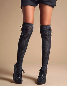 Lengthen with knee high socks. Heighten with laced heels.
