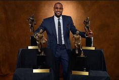 LeBron James of the Miami Heat poses with his collection of Maurice Podoloff Trophies after being named the Kia NBA Most Valuable Player (MVP) of the Year for the fourth time on May King Lebron James, King James, Lebron James Basketball, Basketball Players, Los Angeles Lakers, Nba Mvps, Rodney Hood, Cleveland Cavs, Cavaliers Cleveland