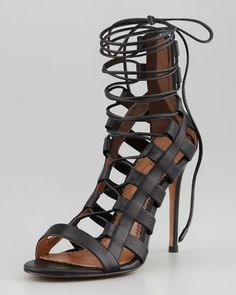 Amazon Lace-Up Ankle-Wrap Sandal by Aquazzura at Neiman Marcus.