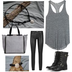 """shells and leather"" by frufru21 on Polyvore"