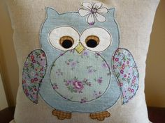 Duck egg blue owl applique cushion Applique Cushions, Baby Applique, Machine Applique, Applique Patterns, Applique Designs, Quilt Patterns, Fabric Crafts, Sewing Crafts, Sewing Projects