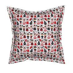 Serama Throw Pillow featuring kawaii boys and girls flamenco dancers, smiling…
