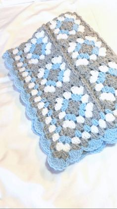 Granny Square Baby Blanket Blue and Grey Gray by littledarlynns