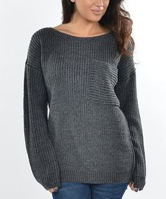 Black & Charcoal Boatneck Sweater...looks cozy