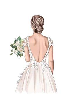 Wedding Dress Drawings, Wedding Drawing, Wedding Art, Illustration Mode, Wedding Illustration, Girls With Flowers, Wedding Prints, Elegant Bride, Bride Gifts
