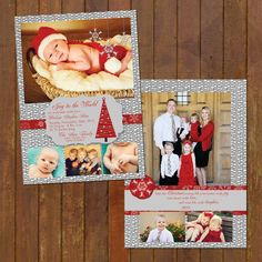 Grey & Red Christmas Baby Birth Announcement  by gwenmariedesigns, $24.00