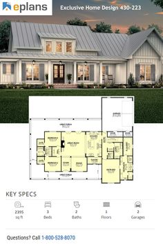 Gorgeous Modern Farmhouse Exterior This modern farmhouse exterior boasts great curb appeal and smart features. Lake House Plans, Family House Plans, Best House Plans, Dream House Plans, Country House Plans, Farmhouse Floor Plans, Modern Farmhouse Exterior, Modern Farmhouse Style, Country Farmhouse