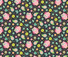 Sweetie Pie Owls Allover fabric by beebumble on Spoonflower - custom fabric