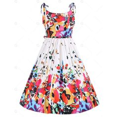 Floral XL Tied Sleeveless A Line Print Dress (€14) ❤ liked on Polyvore featuring dresses, white floral dress, vintage floral dress, vintage a line dresses, vintage white dress and vintage day dress