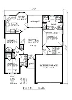 Decent, small, one floor house plan.  This would be enough, wouldn't mind an extra bedroom but this would be doable One Floors House Plans, Houses Houseplans, House Buildings, Floors Plans, Future House, Dreams House, Small One Floor House Plans, Small House, Coolhouseplans Com 1294Sf