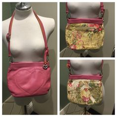 Brighton reversible bag Beautiful Brighton pink leather bag. Reversible to a cotton with beautiful pictures on it. Strap is adjustable to wear as a shoulder bag or cross body. One zipper pocket. Brighton Bags Crossbody Bags