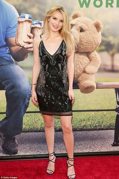 Red carpet star: Bella Thorne rocked a pretty black dress at the New York premiere of ted ...