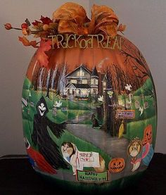 Detailed hand painted pumpkin / 360 Halloween 6 Sheltie's Pumpkin Parade ~ by Lynnelily