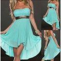 Blue Patchwork Lace Sequin Bandeau Chiffon Dress