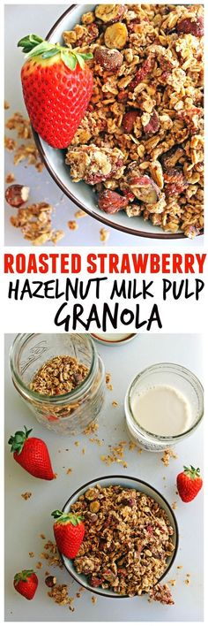 Easy and delicious vegan granola made with nut milk pulp! Roasted strawberry hazelnut milk pulp granola is a wonderful way to use up your nut milk pulp. Brunch Recipes, Breakfast Recipes, Breakfast Menu, Breakfast Ideas, Snack Recipes, Real Food Recipes, Vegan Recipes, Vegan Food, Free Recipes