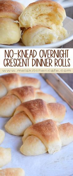 These make-ahead overnight dinner rolls are just might be the crescent roll to end all crescent rolls. Buttery, flaky, and SO delicious, they are easy as can be – no kneading or stand mixer required! (christmas desserts easy make ahead) Homemade Crescent Rolls, Crescent Roll Recipes, Homemade Rolls, Bread Machine Recipes, Bread Recipes, Cooking Recipes, Bagels, Tortillas, Biscuit Bread