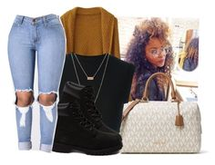 """""""Sweater weather"""" by eazybreezy305 ❤ liked on Polyvore featuring MICHAEL Michael Kors, adidas Originals, ASOS, Timberland, cute, sweaterweather and Fall2016"""