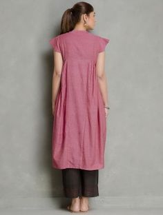 Dark Pink Cotton Side Pleated Kurta by Jaypore Pakistani Dress Design, Pakistani Dresses, Printed Kurti Designs, Printed Sarees, Indian Dresses Traditional, Angrakha Style, Neck Designs For Suits, Boutique Suits, Kurta Neck Design