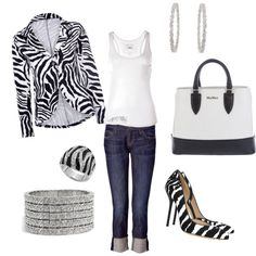 Black and White zebra!! Love the shoes and the ring but maybe a solid black cardigan