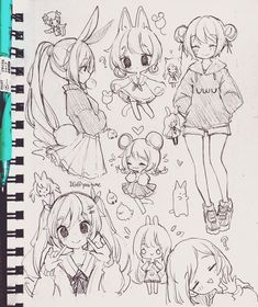 Cute Sketches, Art Drawings Sketches Simple, Pencil Art Drawings, Kawaii Drawings, Cute Drawings, Chibi Girl Drawings, Hipster Drawings, Oc Drawings, Girl Drawing Sketches