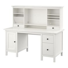 IKEA - HEMNES, Desk with add-on unit, white stain, , Solid wood is a durable natural material.You can mount the drawers to the right or left, according to your needs.Can be placed anywhere in the room because the back is finished.The lower drawer has a file frame that can be adjusted to fit letter or legal files.The shelves can be tilted, providing practical storage for papers and documents.The small compartment in the top drawer can be used for practical storage of pens and other small…