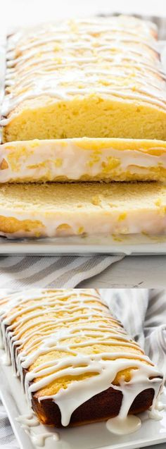 This Homemade Lemon Pound Cake from If You Give a Blonde a Kitchen is the perfect lemon dessert! Tender and moist lemon pound cake is covered in a delicious lemon glaze!