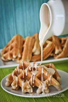 Cake Mix Cinnamon Waffles with Cinnamon Roll Glaze