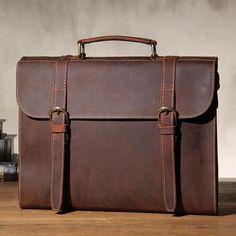 Handmade Genuine Dark Brown Leather Briefcase Messenger Bag Men's Laptop Bag Handbag YS102