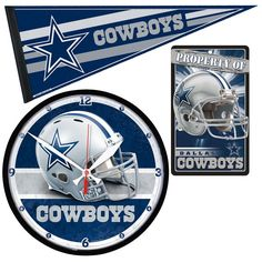 Dallas Cowboys NFL Ultimate Clock, Pennant and Wall Sign Gift Set