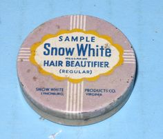 Snow White Hair Beautifier Sample Tin Lynchburg VA RARE Tiny Tin