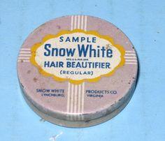 Snow White Hair Beautifier Sample Tin Lynchburg VA RARE Tiny Tin