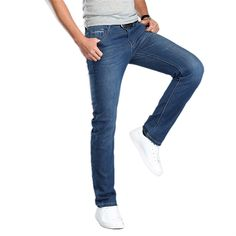 54.18$  Buy here - http://alimwt.shopchina.info/go.php?t=32809797870 - Men Large Size 40 42 44 Quality Cotton Jeans Male Classic Business Elastic Denim Pants Homme Relaxed Leisure Cowboy Trousers 54.18$ #bestbuy